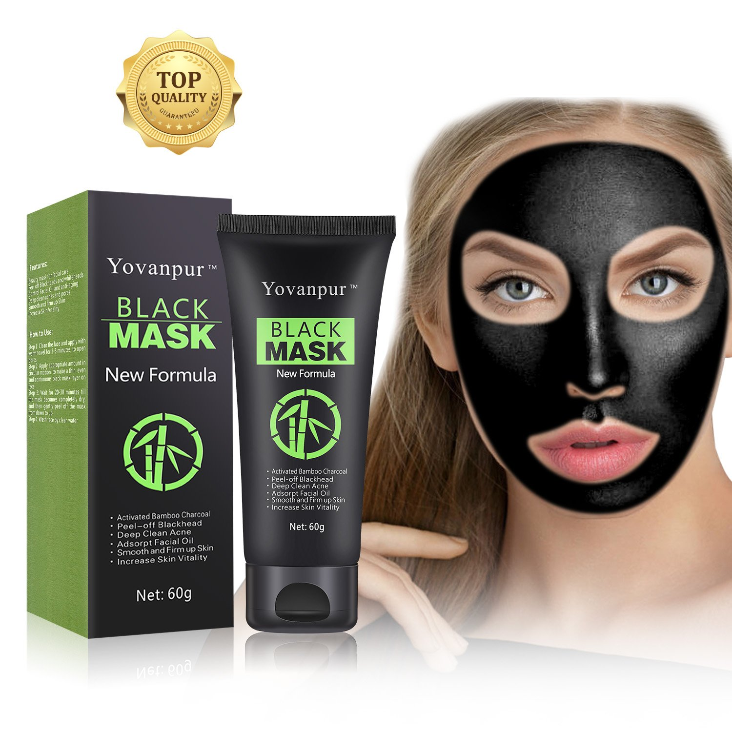 Yovanpur Black Mask, Charcoal Peel Off Mask, Blackhead Remover Mask Deep Cleaing Blackhead Mask for Face Nose 60g (Black mask)