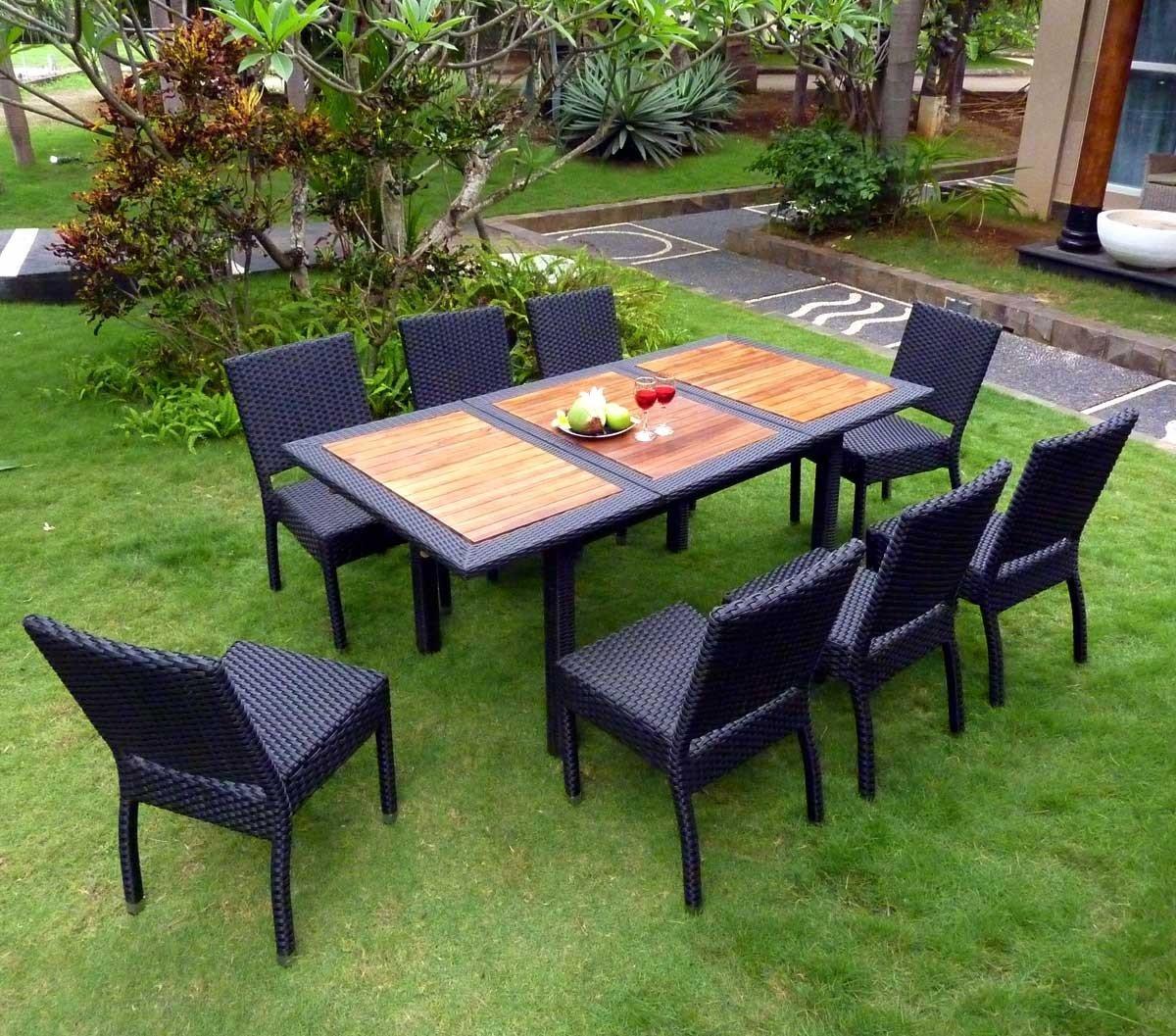 Gartenmöbel Teak und Kunstharz, 8 Sitzer Limbok, Rattan