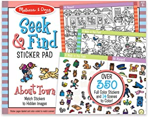 Melissa & Doug Seek and Find Sticker Pad – Around Town (400+ Stickers, 14 Scenes to Color)
