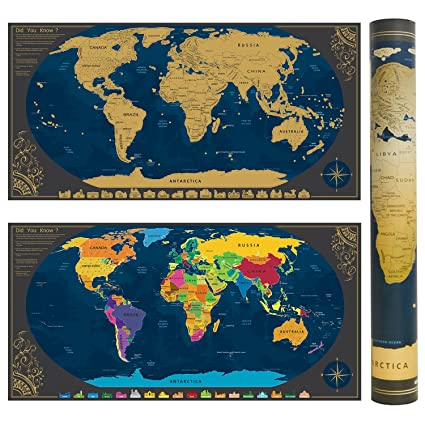 Scratchable World Map with Accessories + Bonus Wallpaper Map of ...