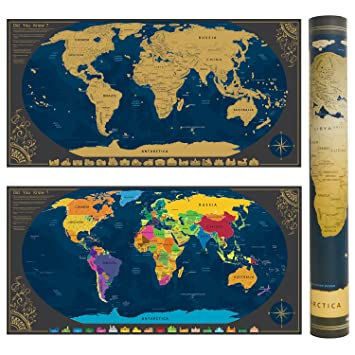 Scratchable World Map With Accessories Bonus Wallpaper Of Travel Size Personalised