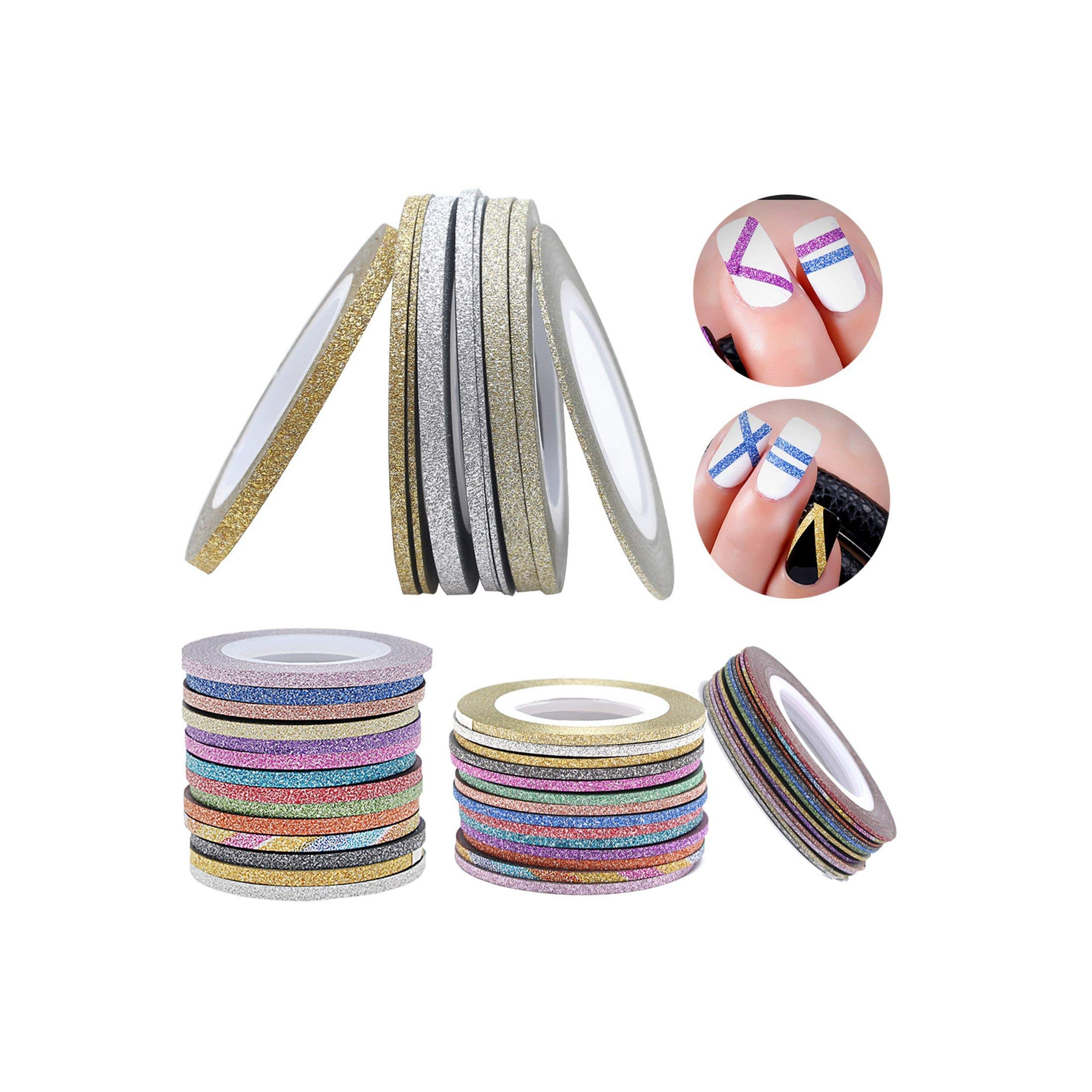 2000Pcs Glitter Nail Art Striping Tape Nail Line Sticker 1Mm 2Mm 3Mm Matte Metallic Yarn Line Strip Tape,3Mm by Mango-ice