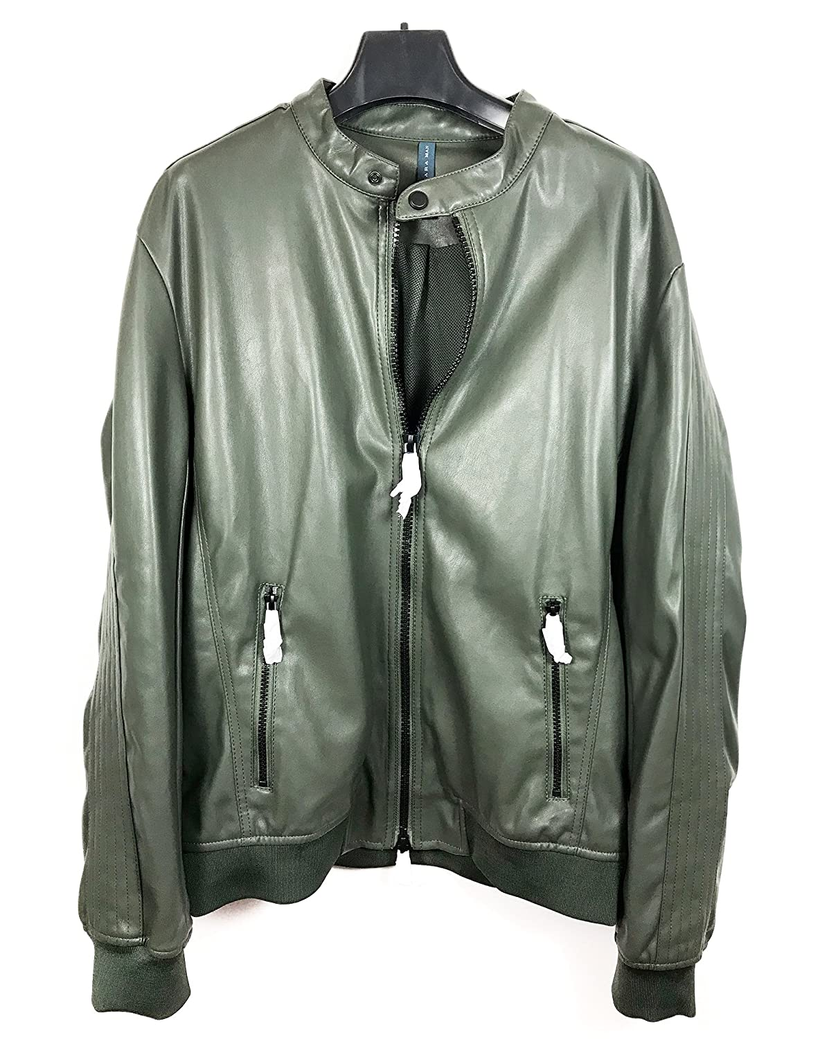 Zara Men Faux Leather Quilted Bomber Jacket 2398/404 at Amazon ... : leather quilted jacket men - Adamdwight.com