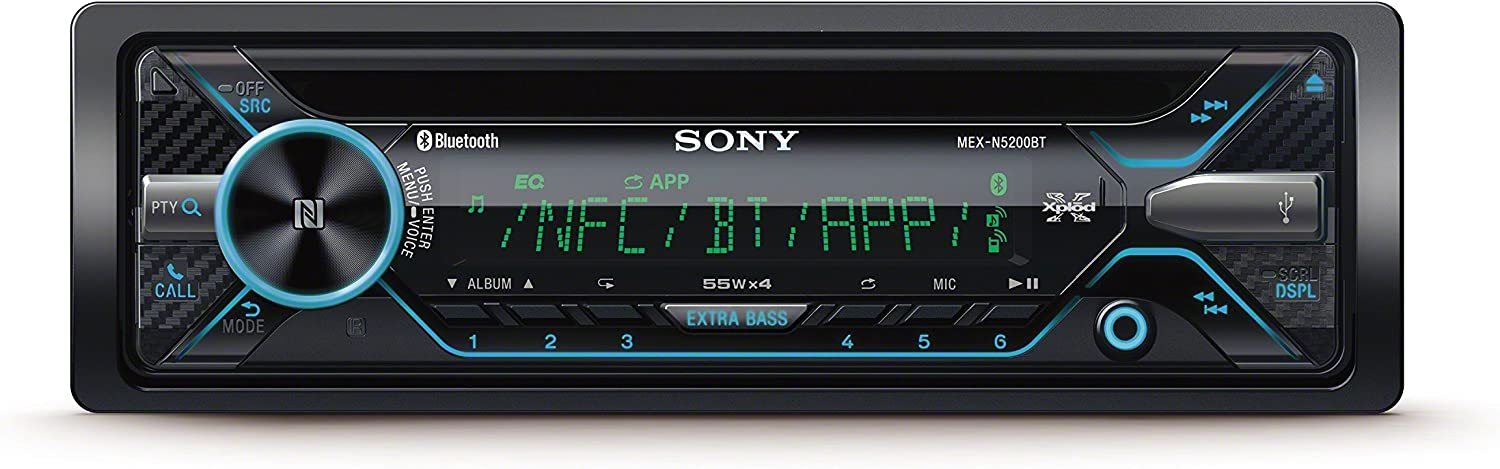 Sony MEXN5200BT - Radio CD (USB, Bluetooth, NFC, iluminación Variable, Micro Externo y Control de Voz Compatible iPhone y Android) Negro