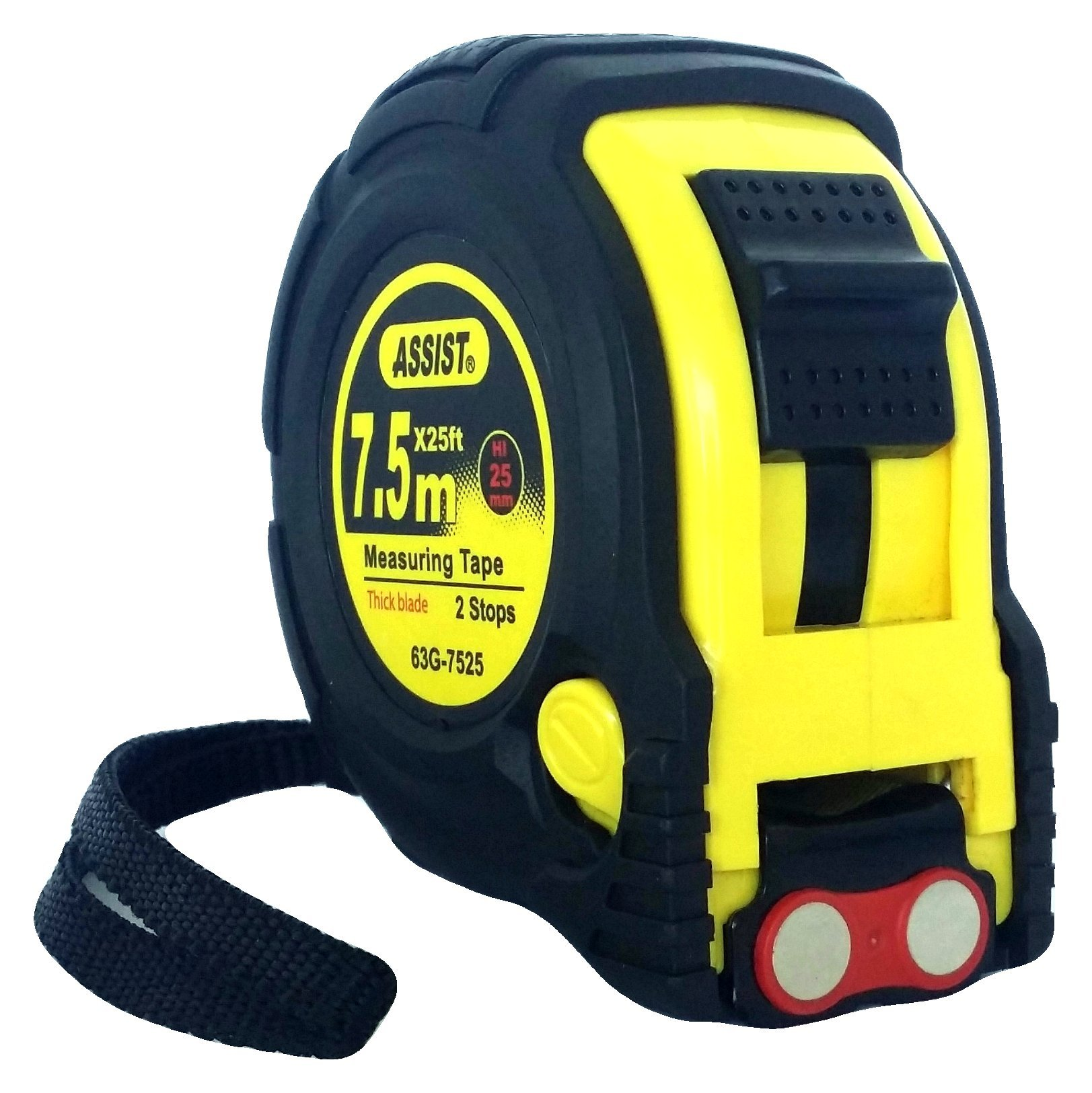 ASSIST-Tape Measure 25 ft by 1 inch with Metric markings included Magnetic Hook Belt Clip and Rubber Case Professional Quality