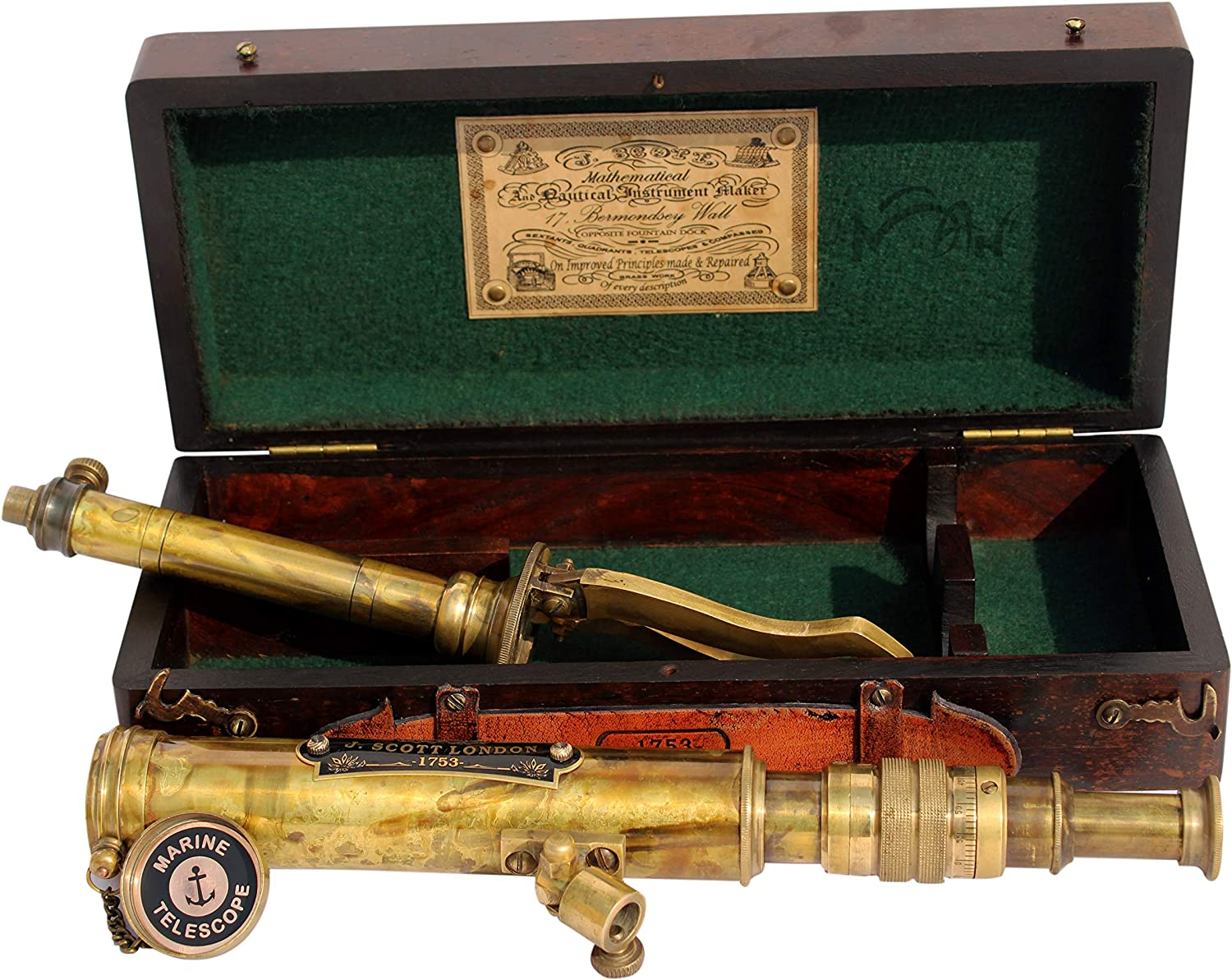 MAH 11inch Vintage Style Marine Spyglass Brass Stand Telescope with Wooden Box C-3201