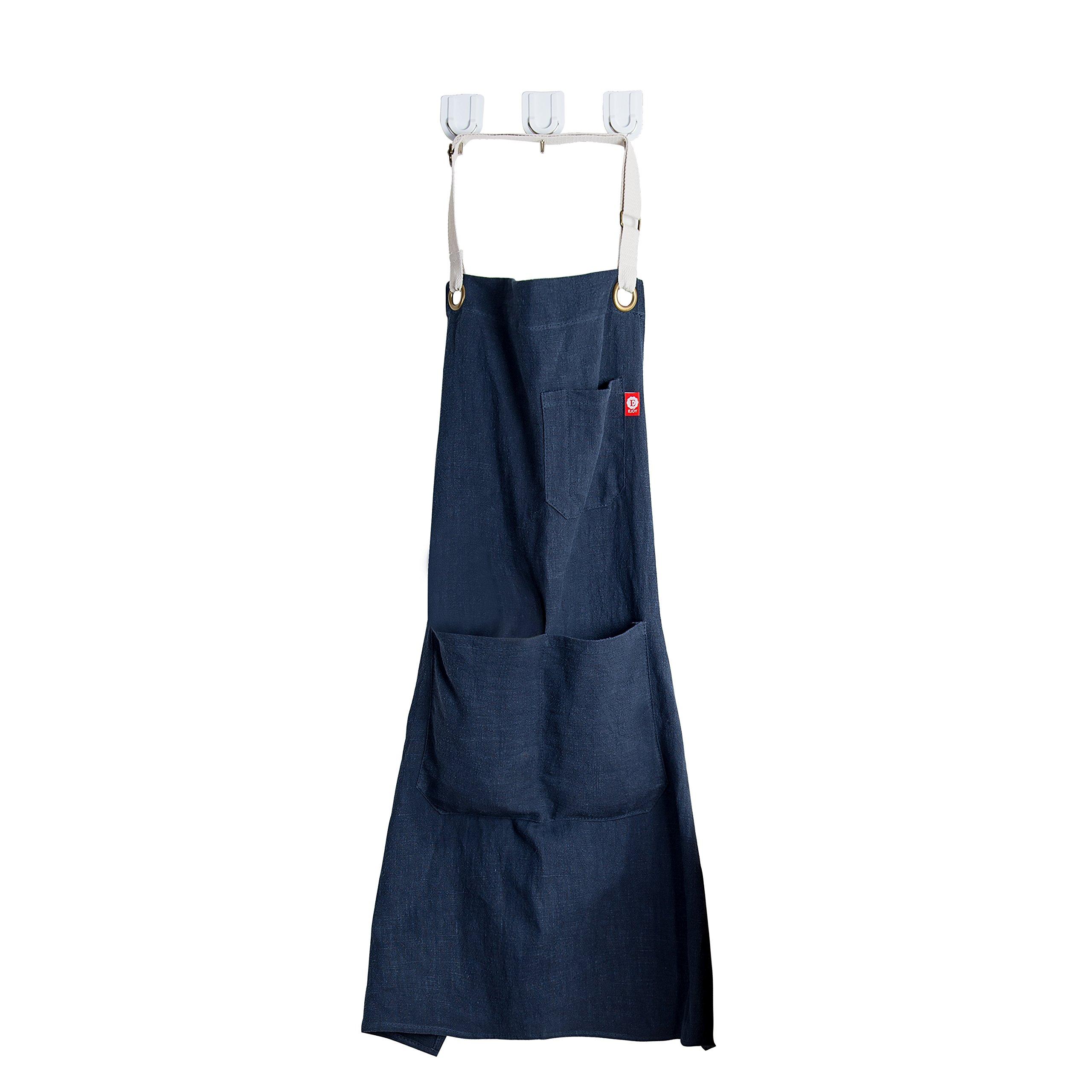EJoy Linen Kitchen Apron - Mens and Women Linen Apron - Adjustable with Pockets (Dark Blue)