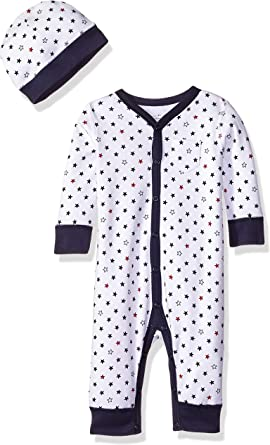 Moon and Back by Hanna Andersson Snap Front One Piece Coverall with Cap Set Unisex beb/é