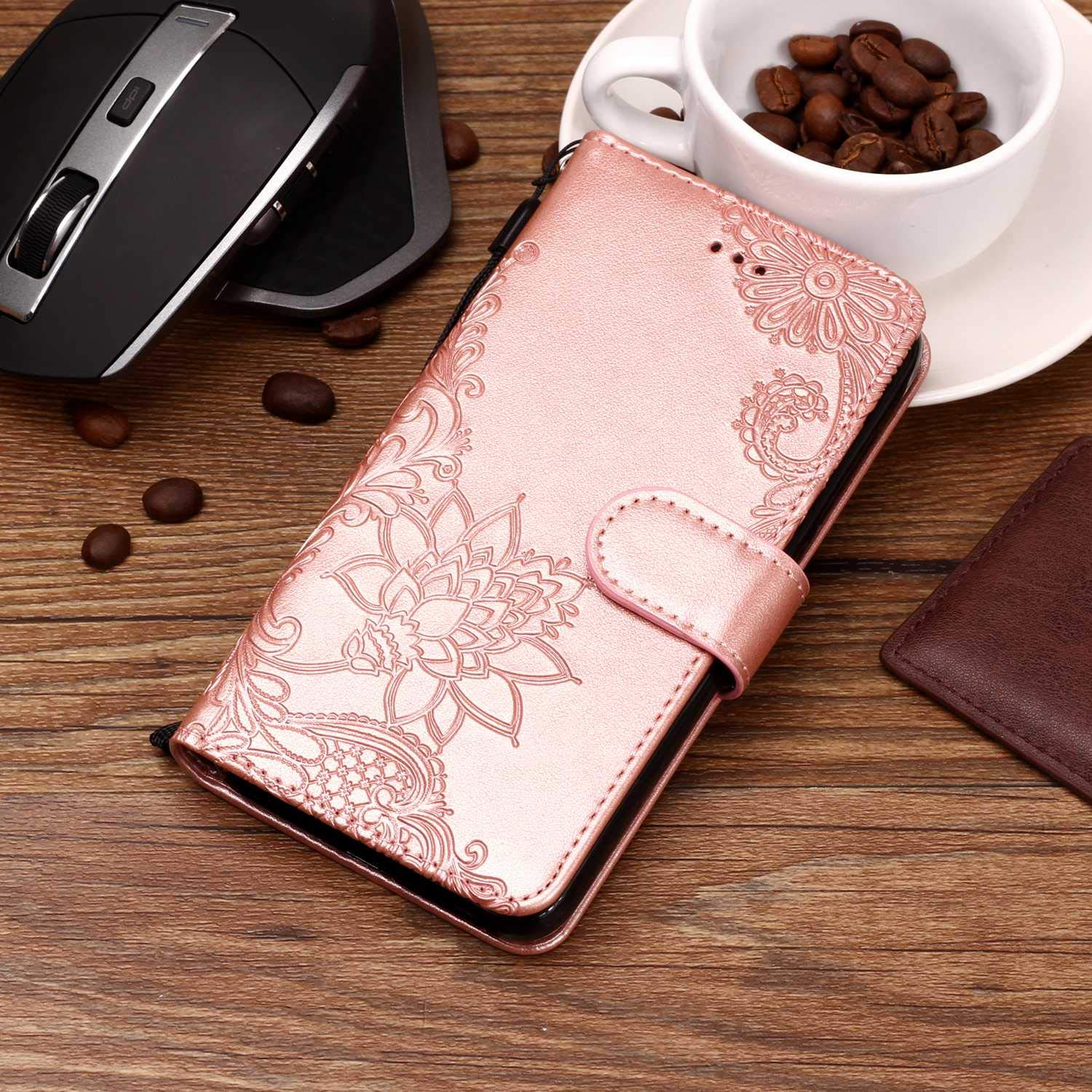 AIIYG DS,LG K30 Case,LG Premier Pro LTE/Phoenix Plus Wallet Case,Classic 3D Mandala Pattern [Kickstand Feature] Flip Folio Leather Wallet Case with ID and Credit Card Pockets For LG K10 2018/Rose Gold by AIIYG DS (Image #5)
