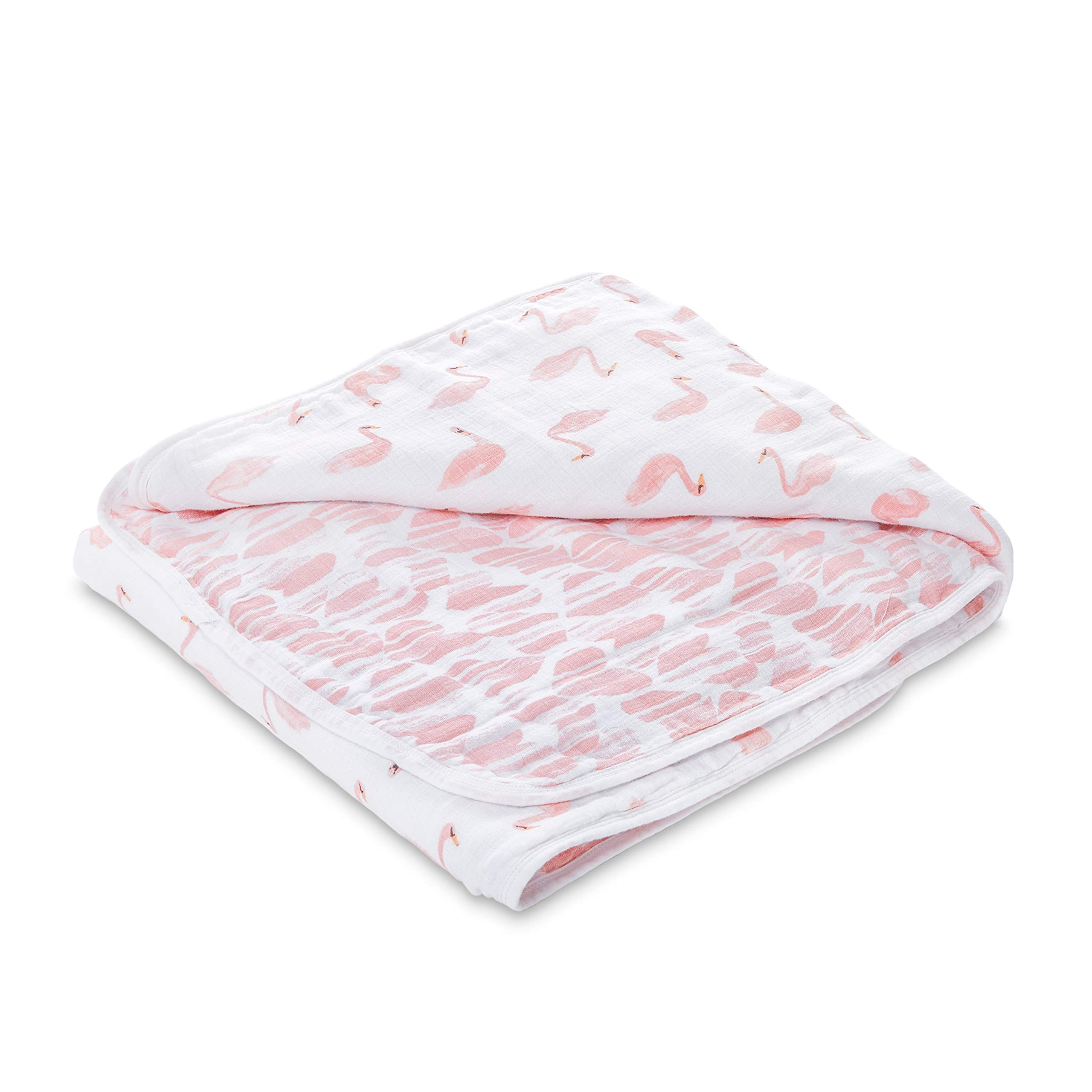 aden by aden + anais Dream Blanket, 100% Cotton Muslin, 4 Layer Lightweight and Breathable, Large 44 X 44 inch, Briar Rose - Swans