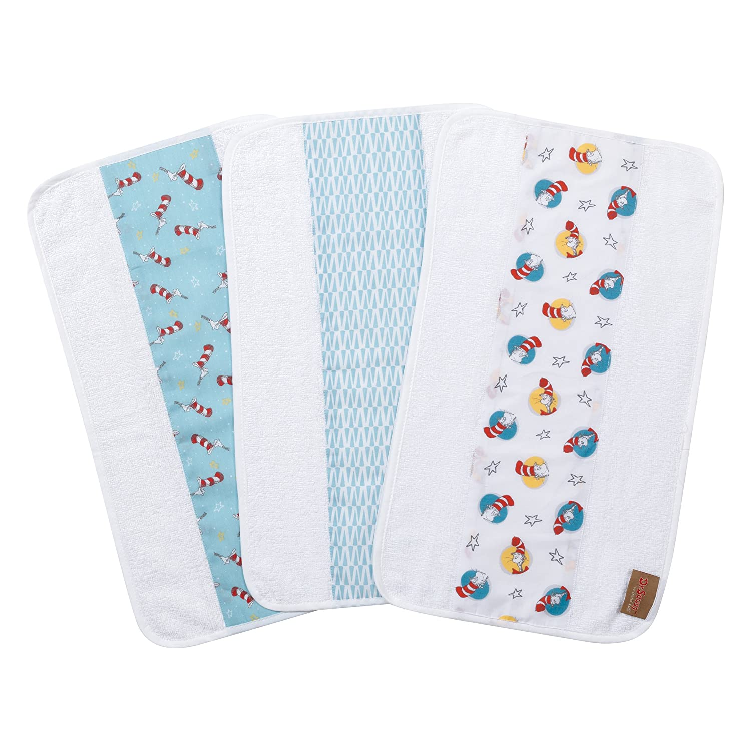 Trend Lab Dr. Seuss by Cat in The Hat 3 Pack Jumbo Burp Cloth Set, Red/Blue/Yellow/Gray/White 30536
