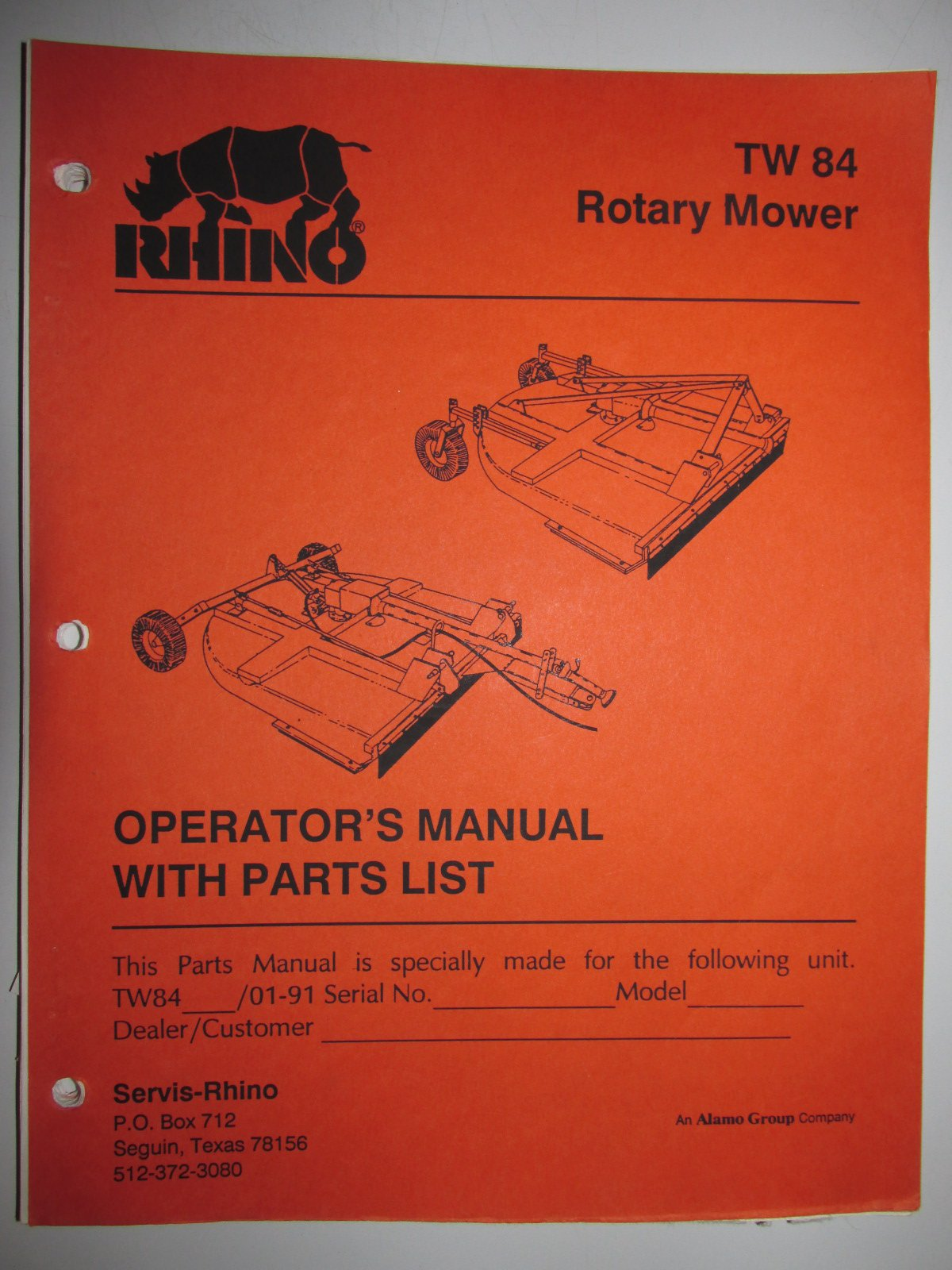 Rhino TW84 Rotary Mower Operators Manual/Catalog with Parts