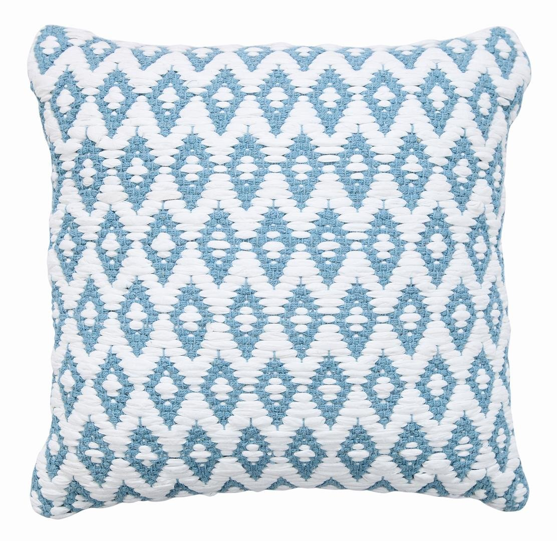 WARISI - Cushion Collection - Snow White Argyll Pillows With Insert/Pillow (Light Blue, 18''x18'')