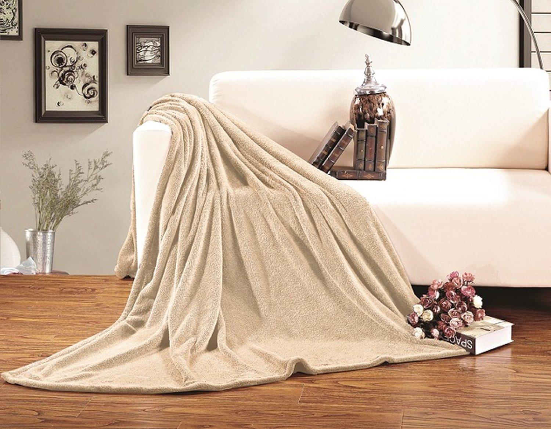 Elegant Comfort Micro-Fleece Ultra Plush Luxury Solid Blanket, King/California King, Cream
