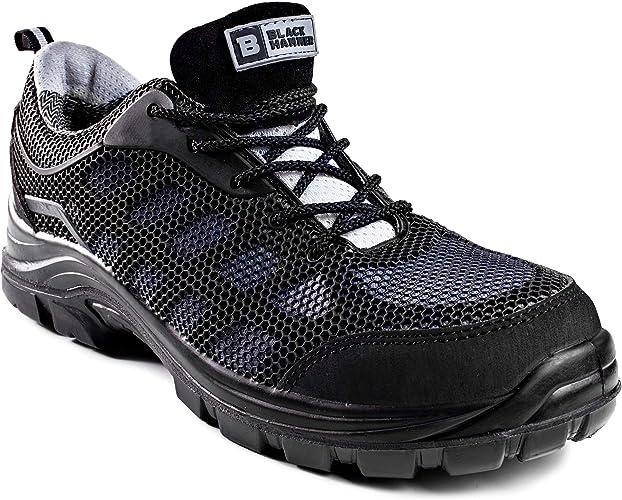 Calzado de Seguridad Impermeable para Hombres Puntera de Composite Sin Metal Ultraligera Botas de Trabajo para Caminar con Entresuela de Kevlar y al Tobillo S3 SRC 8007 Black Hammer: Amazon.es: Zapatos y