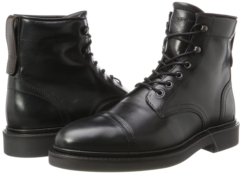 Marc O'Polo Combat Herren Lace Flatheel Bootie 70824106301108 Combat O'Polo Boots Schwarz (Black) 35c416