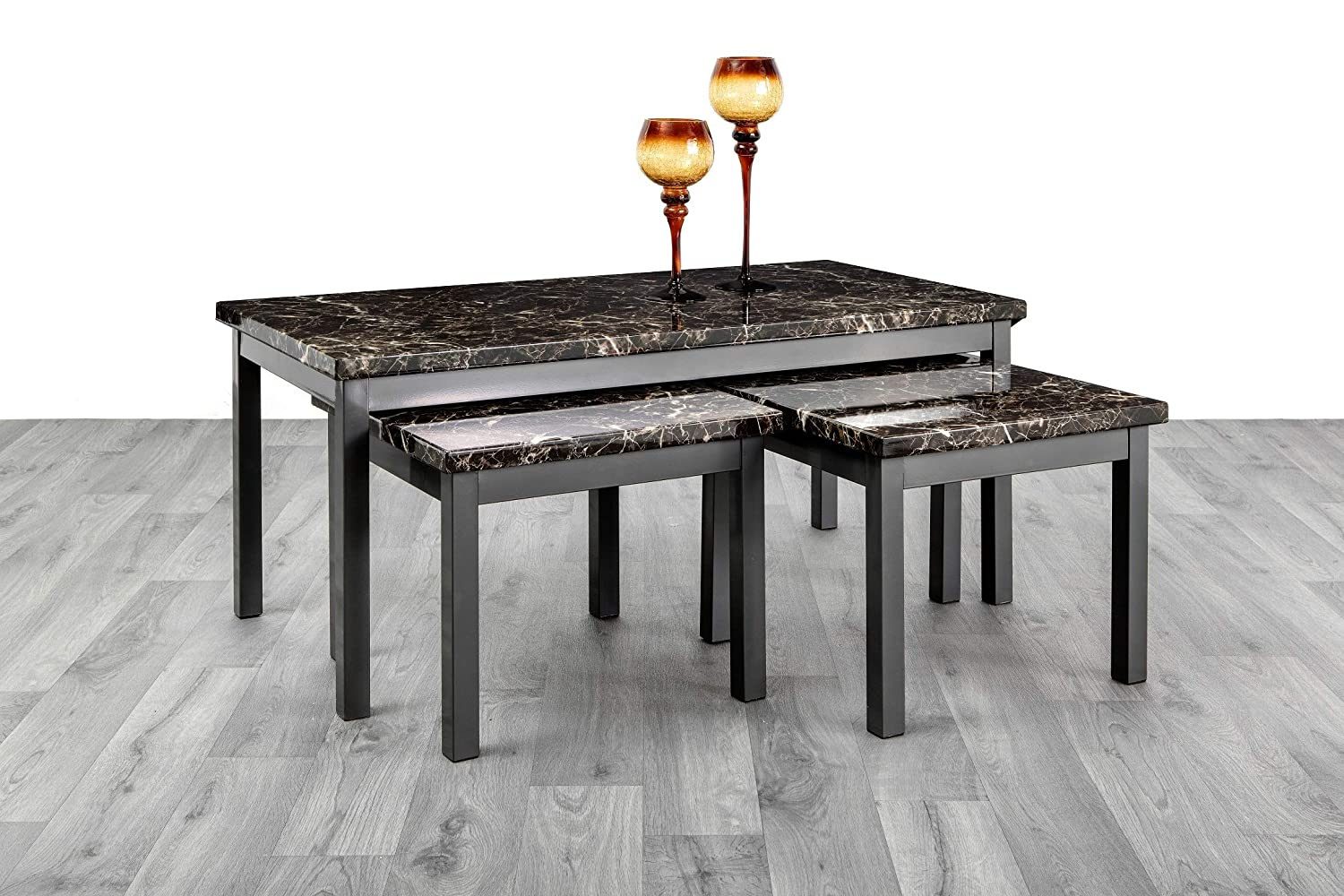 Coffee Table With 2 Matching Side Tables Marble Effect Mdf Top With Gloss Black Metal Frame Black