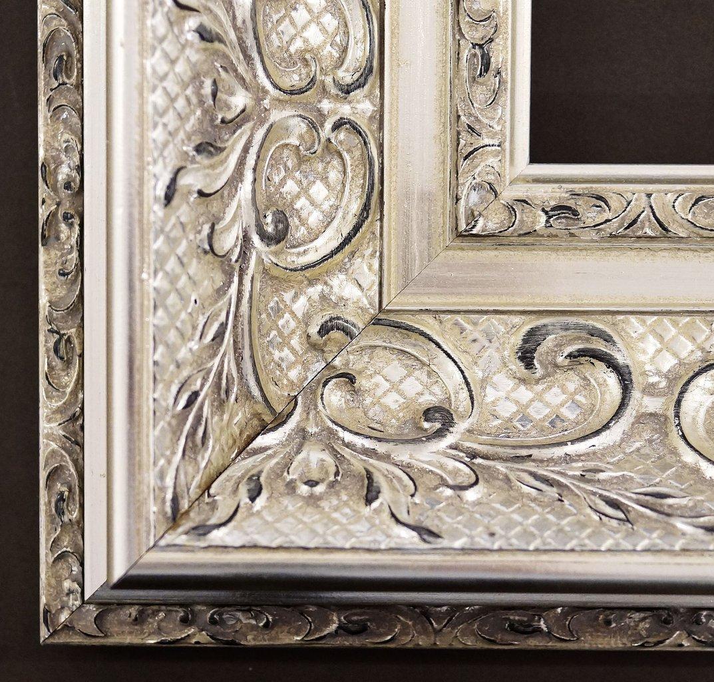 Spiegel Wandspiegel Badspiegel Flurspiegel Garderobenspiegel - Über 200 Größen - Volkach alt - silber, Ornament metallisiert 10,0 - Außenmaß des Spiegels 100 x 140 - Über 100 Größen zur Auswahl - Wunschmaße auf Anfrage - Antik, Barock