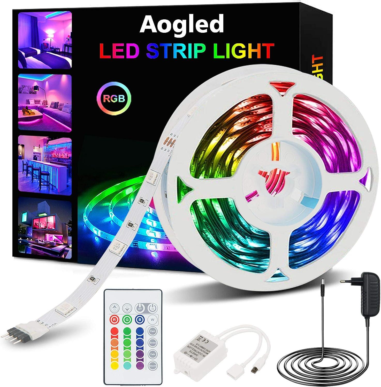 Tira LED,Aogled Luces LED RGB 5m kit 5050 LED con Control Remoto de 24 botones y 16 variaciones de color,Tiras LED para sala de estar, dormitorio, techo y decoración de interiores
