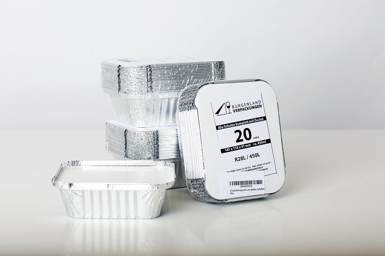 20 bandejas rectangular con tapa & # x2022; r28l & # x2022; 450 ml & # x2022; de aluminio carcasa & # x2022; de aluminio Menú Carcasa & # x2022; ...
