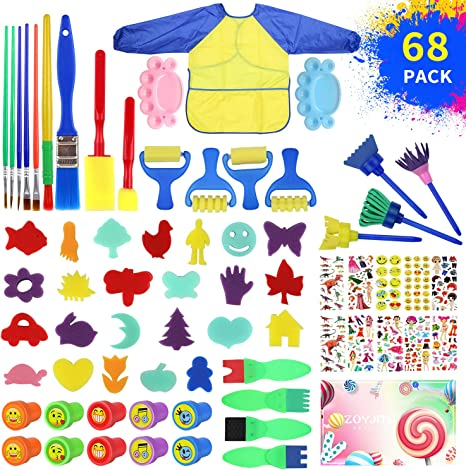 48 Pcs Kids Early Learning Painting Sponges Stamper Art Craft Foam Painting Tools for Kids Paint Brushes Kit Alphabets Drawing Tools