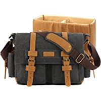 Plambag Men's Dslr Camera Shoulder Bag Canvas Pu Leather Messenger Bag Medium Dark Gray