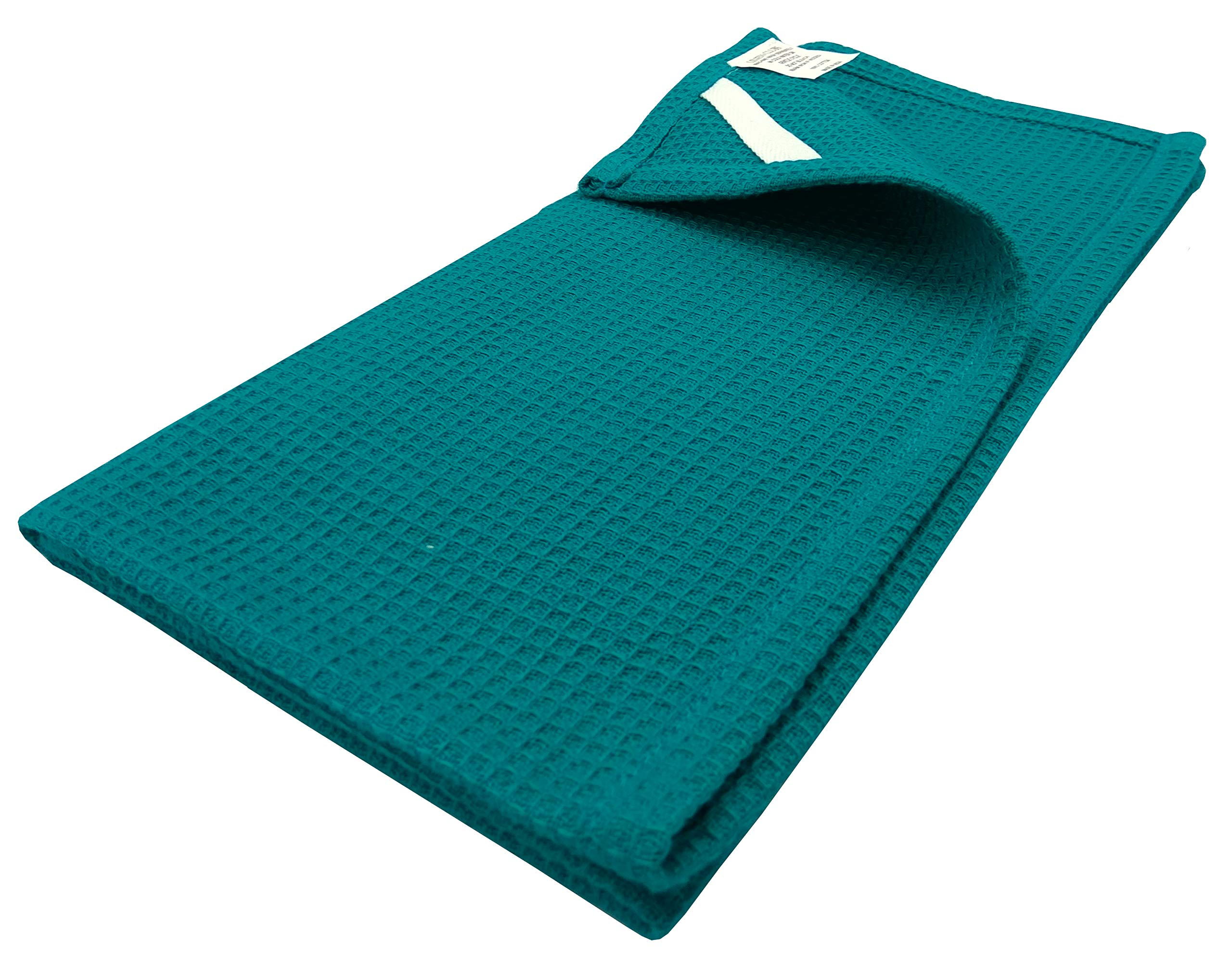 Linen Clubs 8 Pack waffle Kitchen Towels Teal Color 18x26 Inches- Pure Cotton, Absorbent Waffle Weave offered