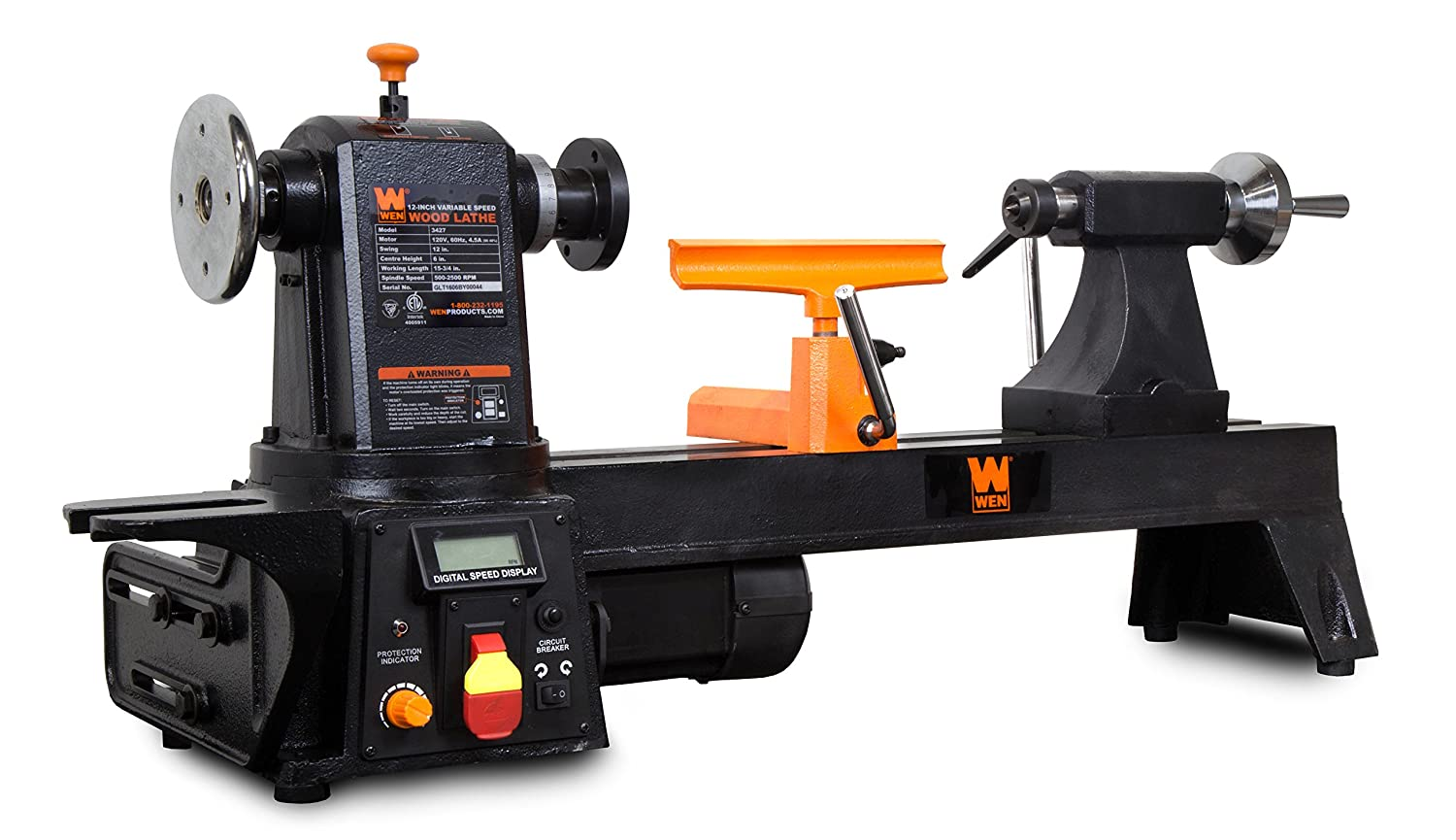 WEN 3420T 8 in x 12 in Variable Speed Benchtop Mini Wood Lathe