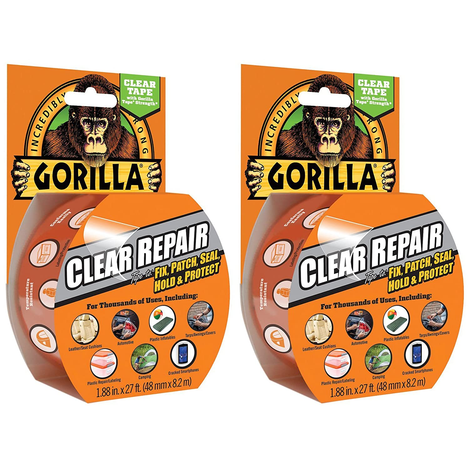 Clear 2 X Gorilla Tape 3044701 8.2m Repair Tape with Gloss Finish