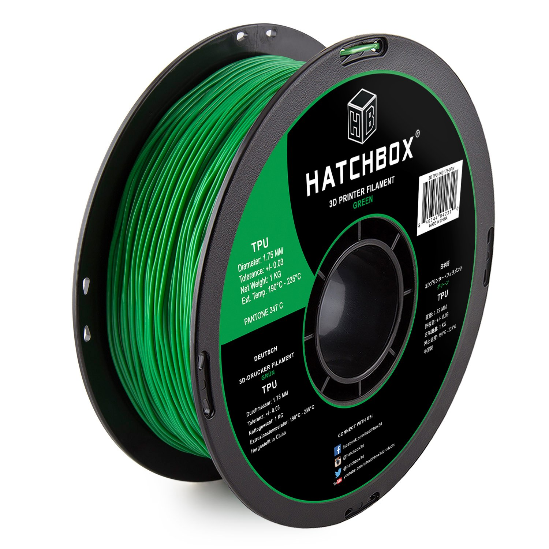 Green Shore 95A 1.75 mm Dimensional Accuracy +//- 0.03 mm 1 kg Spool HATCHBOX TPU 3D Printer Filament