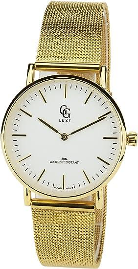 Reloj Mujer GG LUXE Blanco Cuarzo Acero Pantalla analógica Water Resist 3 ATM Elegante Deporte Modo