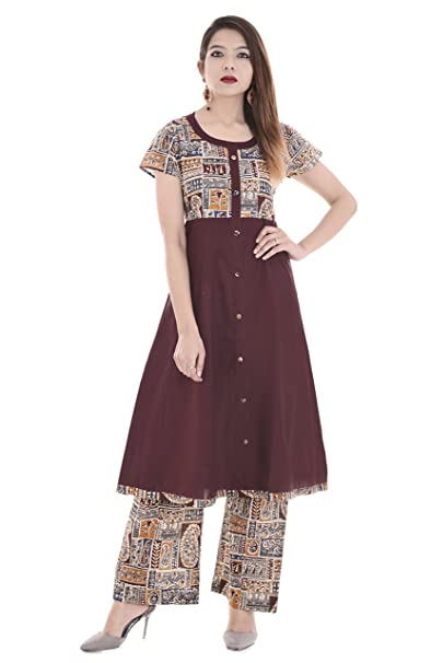 Palakh Women's Cotton Dark Brown A-line Block Printed Kurti With Printed Palazzo Women's Salwar Suits at amazon