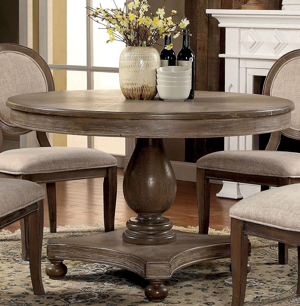 Amazon com siobhan rustic dark oak round dining table by furniture of america tables