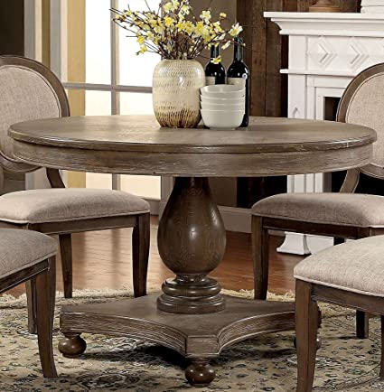 Amazon Com Siobhan Rustic Dark Oak Round Dining Table By Furniture