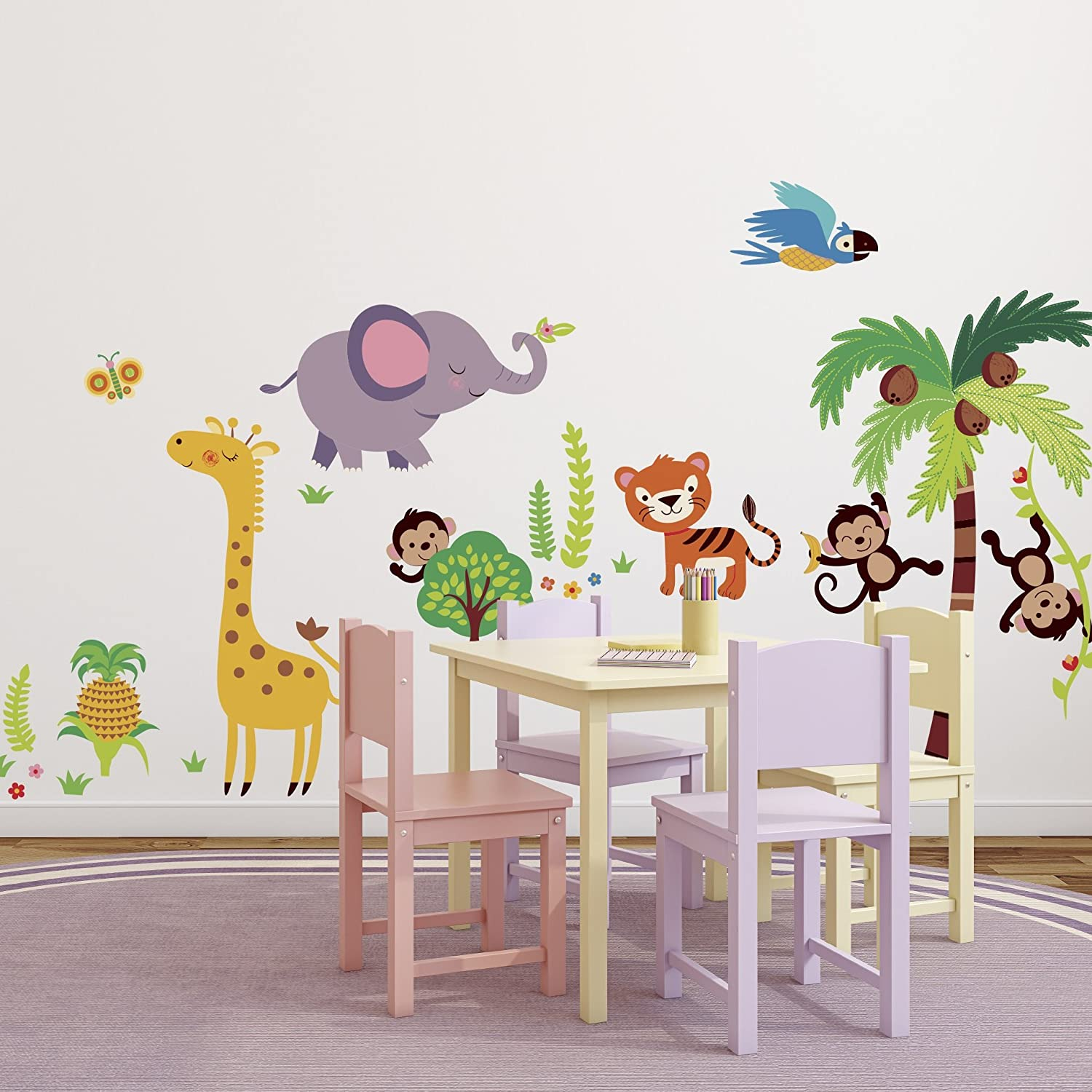 Amazon.com: Giant Nursery/kids Room Wall Sticker Decals   Tumble In The  Jungle Monkeys Stickers: Home Improvement