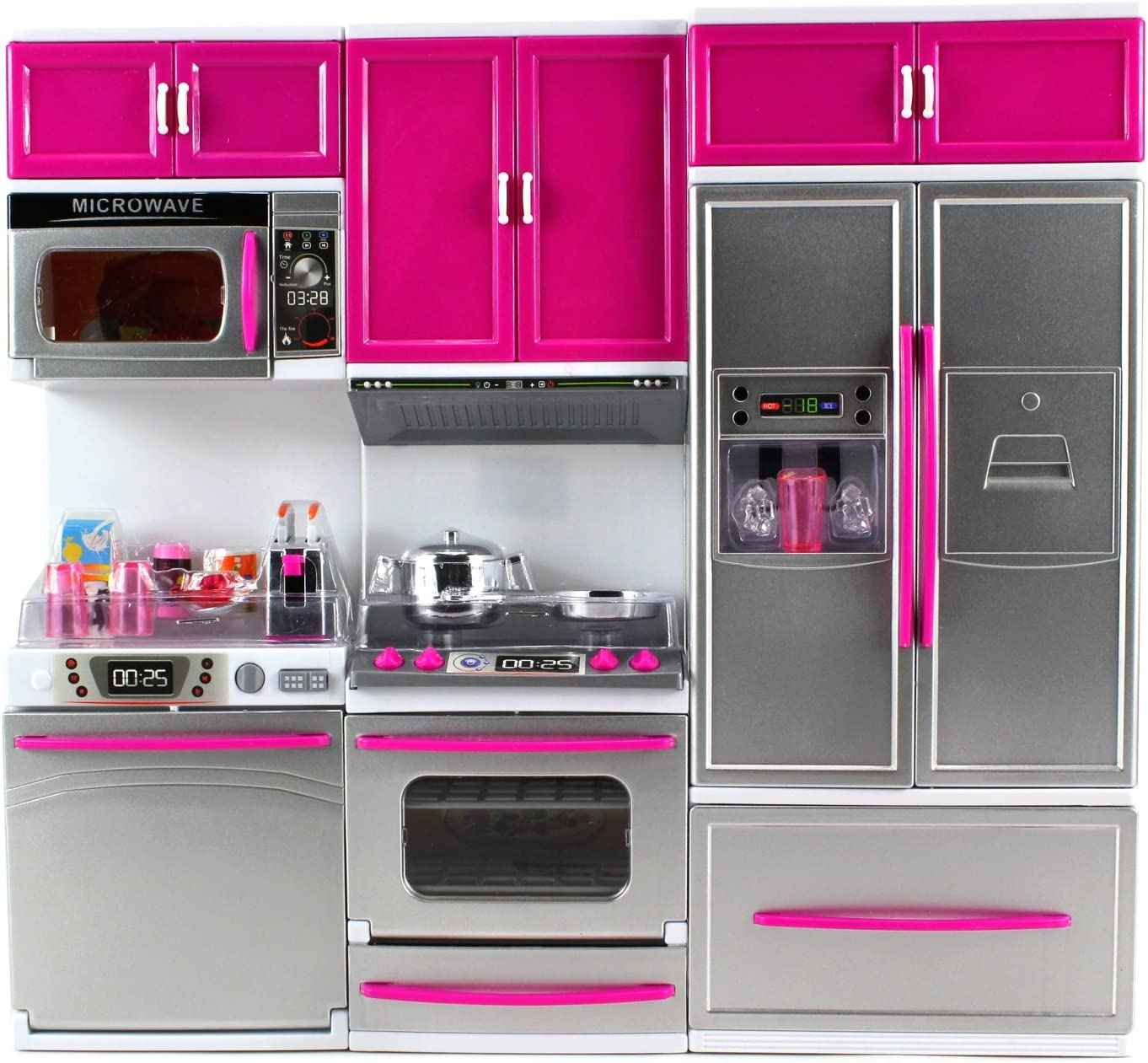 Velocity Toys My Modern Kitchen Dishwasher Stove Refrigerator Battery Operated Toy Doll Kitchen Playset w/ Lights, Sounds, Perfect for Use with 11-12