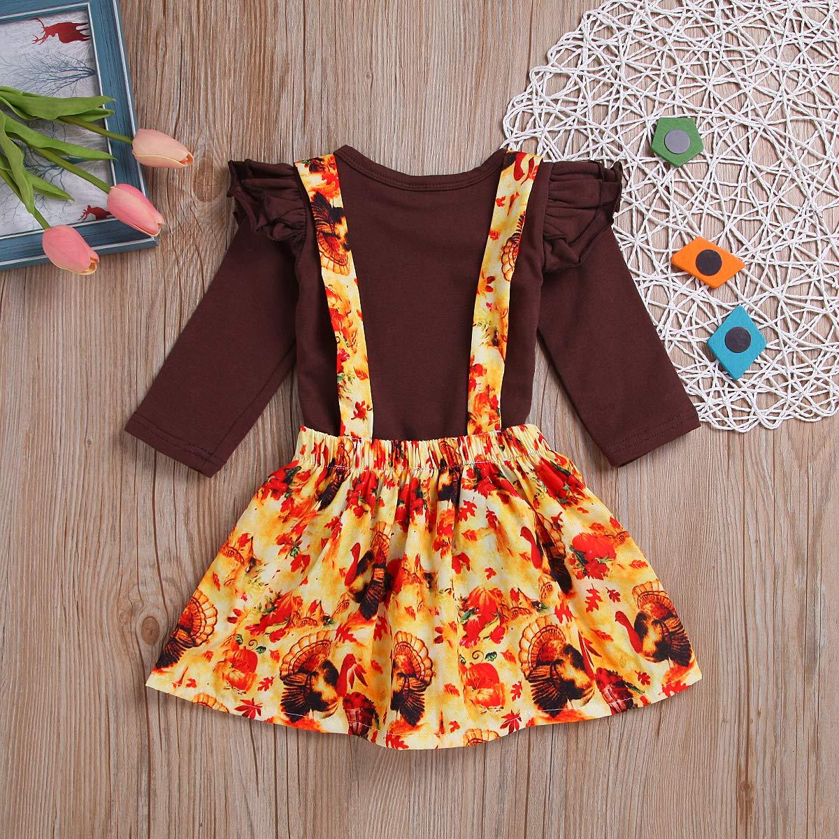 ZOELNIC Baby Girls Thanksgiving Outfit Ruffles Long Sleeve Romper Turkey Suspenders Skirt Set
