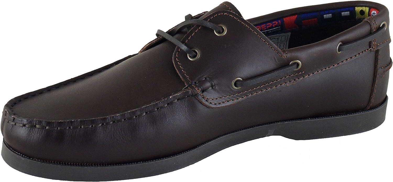 Beppi Mens Portuguese Made Chestnut Brown Leather Deck Shoes
