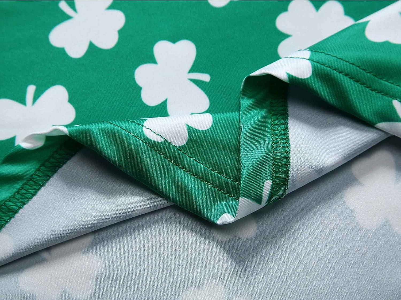 HUHOT Womens St Patricks Day Sleeveless Clover Print Midi Flared Tank Dress