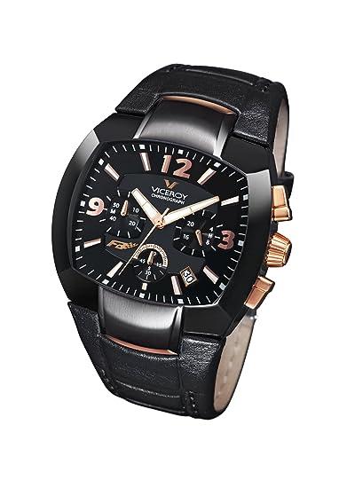 Viceroy 432021-95 - Reloj de Caballero de Cuarzo, Correa de Piel Color Negro: Amazon.es: Relojes
