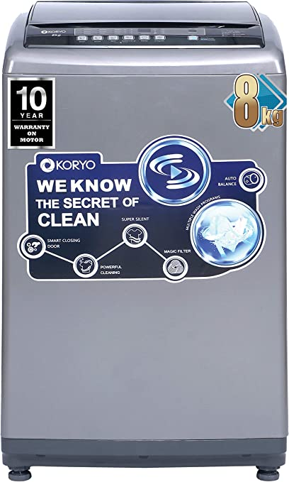 Koryo by Big Bazaar 8 KG Top Loading Fully Automatic Washing Machine WM8018TL Washing Machines & Dryers at amazon