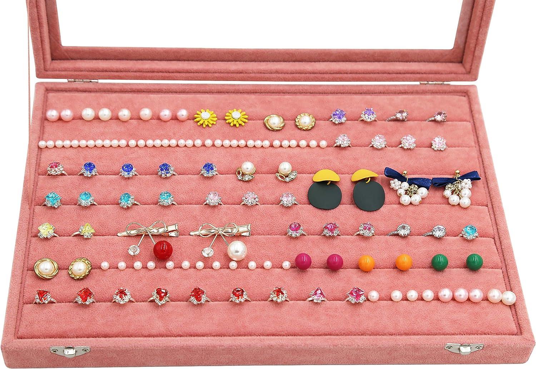 Colliers Bienser Bo/îte de Rangement en Velours avec Couvercle Transparent pour Boucles doreilles organisateurs de Bijoux Earring-Pink pendentifs