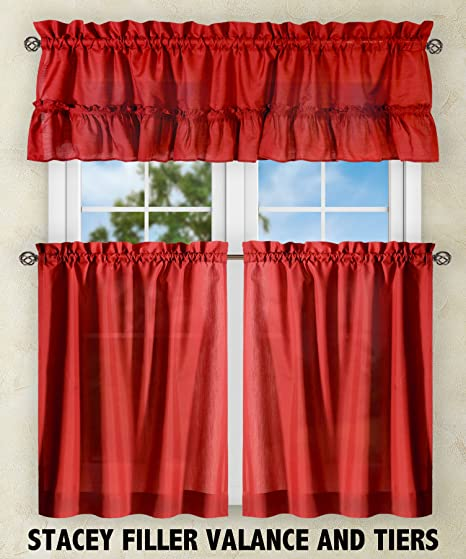 Red Curtains amazon red curtains : Amazon.com: Ellis Curtain Stacey Tailored Tier Pair Curtains, 56 ...