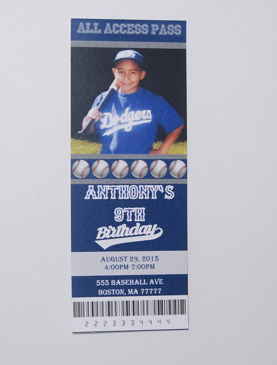 Amazon Birthday Invitation Baseball Party Ticket
