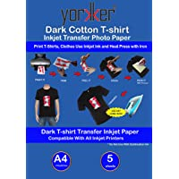 Yorkker T-shirt Dark Cotton Inkjet Transfer Photo Paper Pack of 5 Sheets| DIY Print T-Shirts, Clothes Use Inkjet Ink and Heat Press with Iron size:A4