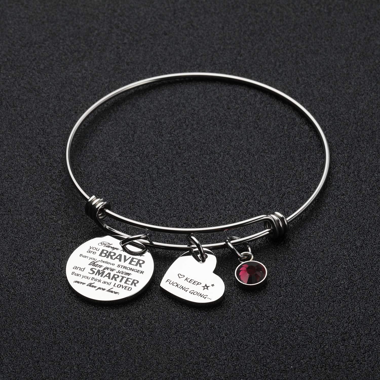 PARTNER Inspirational Gifts You are Braver Than You Believe Birthstone Bracelets Personalized Feminism Bracelets