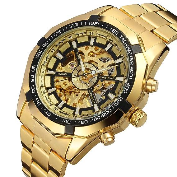 Reloj analógico automático Forsining con correa de acero inoxidable FSG8042M4G3: Amazon.es: Relojes