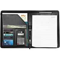 Premium Leather Business Portfolio with Zipper-Portfolio, All-in-One - Include Tablet Sleeve, Presentation Slot, Solar Calculator, Card Storage, Writing Pad and More (Black)