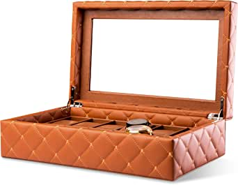 Watch Display Case - Luxury PU Leather with 12 Large Compartments