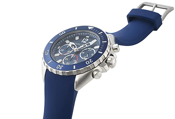 Amazon.com: Nautica Mens Newport Stainless Steel Japanese-Quartz Watch with Silicone Strap, Blue, 22 (Model: NAPNWP001: Nautica: Watches